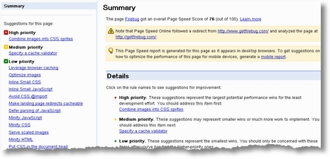 page speed online summary